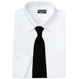 Boys White Formal Shirt & Black Tie