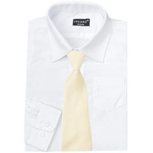Boys White Formal Shirt & Ivory Satin Tie
