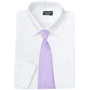 Boys White Formal Shirt & Lilac Tie