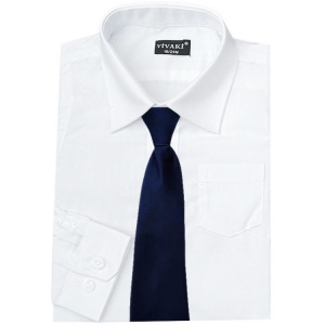 Boys White Formal Shirt & Navy Tie