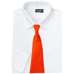 Boys White Formal Shirt & Orange Tie