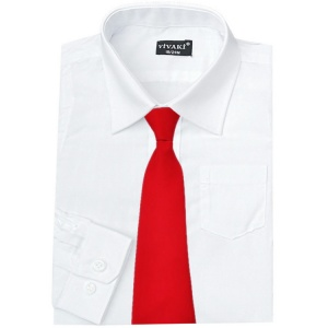 Boys White Formal Shirt & Red Tie