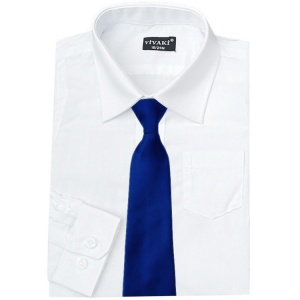 Boys White Formal Shirt & Royal Blue Tie