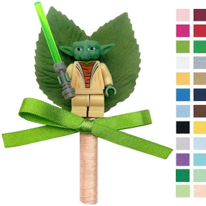 Boys Star Wars Yoda Buttonhole with Satin Bow & Stem