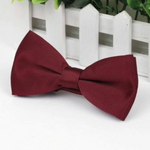 Boys Burgundy Smooth Matt Satin Bow Tie with Adjustable Strap