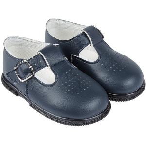 Boys Navy Matt T-bar First Walker Shoes