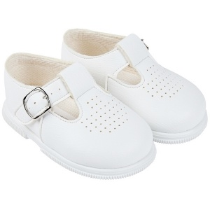 Boys White Matt T-bar First Walker Shoes