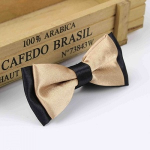 Boys Black & Bronze Satin Bow Tie with Adjustable Strap