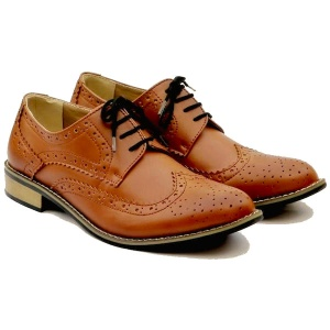 Boys Brown Brogue Derby Pointed Shoes