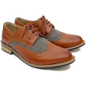 Boys Brown Brogue & Tweed Derby Pointed Shoes