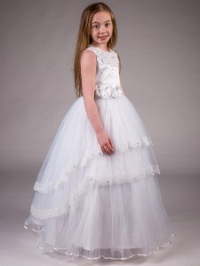 Girls White Diamante Lace Tiered Tulle Hoop Dress