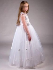 Girls White Butterfly Diamante & Pearl Tulle Hoop Dress