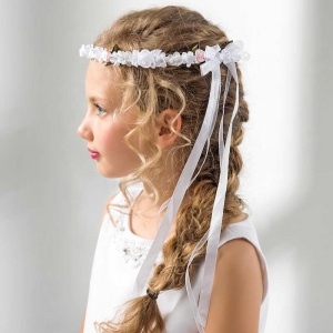 Girls Rose Flower & Bow Garland by Lacey Bell Style CA165