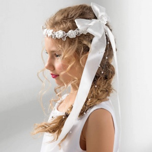 Girls Flower & Pearl Large Bow Garland by Lacey Bell Style CA206