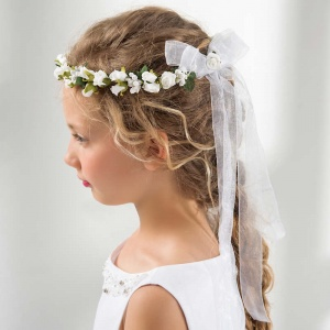 Girls Floral Hair Wreath with Organza Bow by Lacey Bell CA209