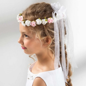 Girls Roses & Organza Bow Garland by Lacey Bell Style CA221