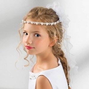 Girls Diamante & Rose Organza Curl Garland by Lacey Bell Style CA236