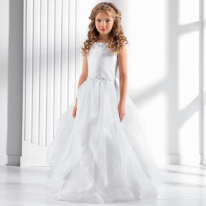 Girls White Crinoline Flounce Dress by Lacey Bell Style CD23