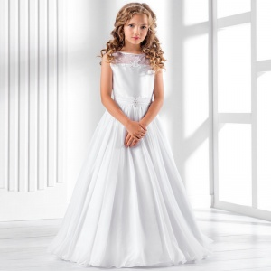 Girls White Satin & Muslin Dress by Lacey Bell Style CD26