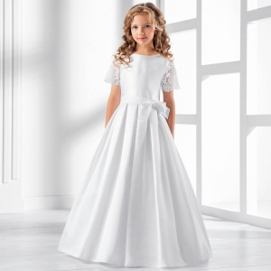 Girls Guipure Lace & Satin Dress by Lacey Bell Style CD27
