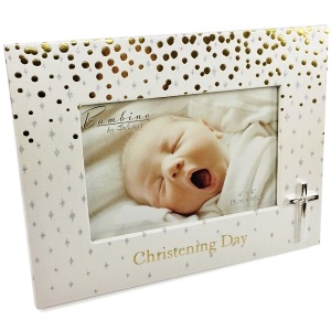 Gold & Silver Christening Day 6'' x 4'' Photo Frame with Cross