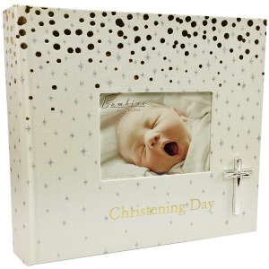 Gold & Silver Christening Day Photo Album with Cross