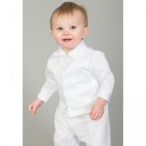 Baby Boys White Anchor 5 Piece Satin Christening Suit