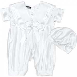 Baby Boys White Sailor Style Christening Romper & Hat