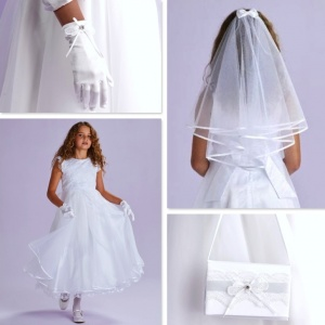 Camille White Communion Dress, Bag, Gloves & Veil - Peridot