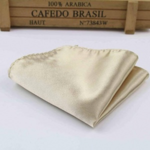 Boys Champagne Satin Pocket Square Handkerchief