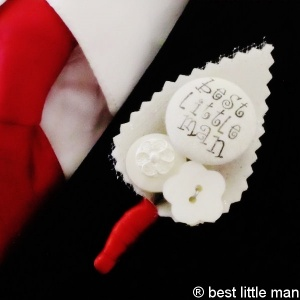 Boys Red & Ivory Sparkly Best Little Man Buttonhole