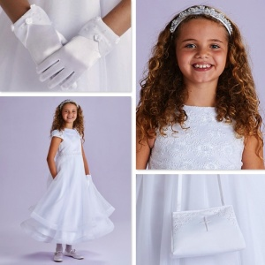 Claudia White Communion Dress, Bag, Gloves & Headband - Peridot