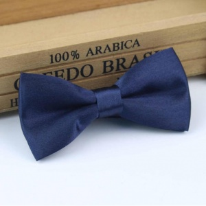 Boys Dark Navy Satin Bow Tie with Adjustable Strap
