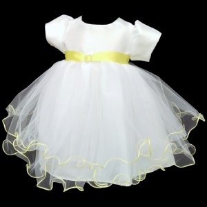 Baby Girls White & Lemon Sash Diamante Tulle Dress