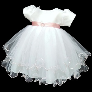 Baby Girls White & Pink Sash Diamante Tulle Dress