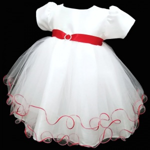 Baby Girls White & Red Sash Diamante Tulle Dress