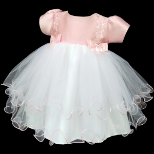 Baby Girls Pink Double Bow Tulle Dress