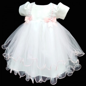 Baby Girls White Tulle Dress with Pink Double Bow