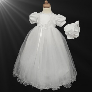 Baby Girls White Lace & Satin Bow Gown with Bonnet