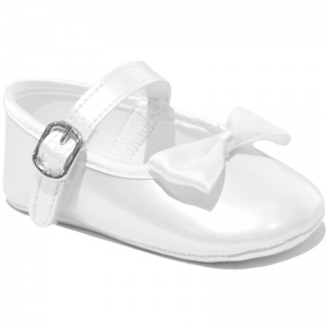 Baby Girls White Bow Pearlescent Buckle Shoes