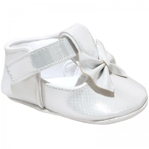 Baby Girls Silver Sparkly Shimmer Bow Shoes