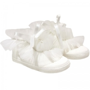 Baby Girls Ivory Frilly Organza Soft Satin Shoes