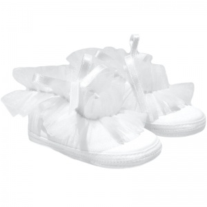 Baby Girls White Frilly Organza Soft Satin Shoes