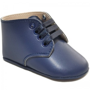 Baby Boys Navy Matt Lace Up Boot Style Shoes