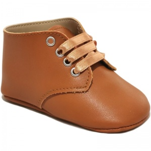 Baby Boys Tan Matt Lace Up Boot Style Shoes