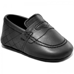 Baby Boys Black Matt Quilted Slip on Loafers