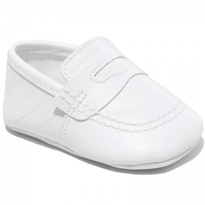 Baby Boys White Matt Quilted Slip on Loafers