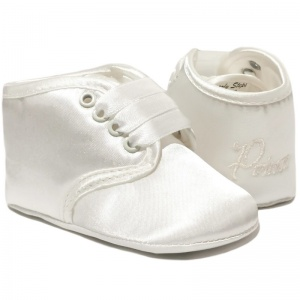 Baby Boys Ivory Satin Prince Christening Pram Shoes