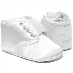 Baby Boys White Satin Prince Christening Pram Shoes