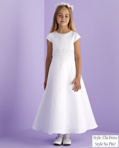 White Guipure A-Line Communion Dress - Ella P167 by Peridot